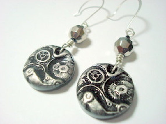 Spunky Steampunk Black and Silver Handmade Polymer Clay Earrings