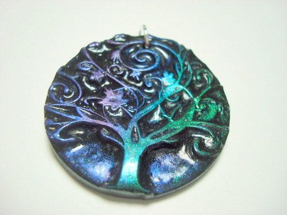 Metal Shine Twirling Yggdrasil Tree of Life Handmade Polymer Clay Pendant or Focal Bead