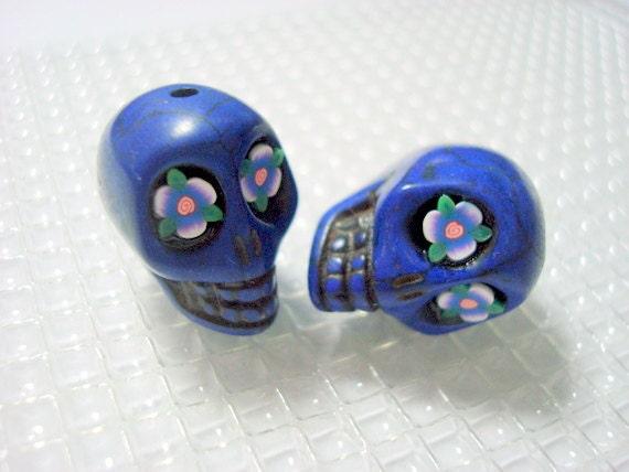 Leafy Flower Eyes in Cobalt Blue Howlite Skull Beads