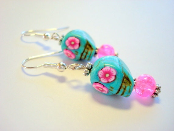 Turquoise and Pink Flowers Day of the Dead Skull Earrings