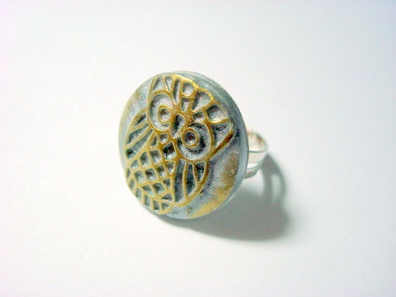 Waffle Owl Silver and Gold Handmade Polymer Clay Ring