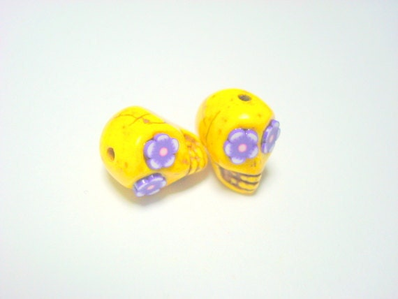 Yellow and Purple Flower Eyes in Day of The Dead Sugar Skull Beads-12mm