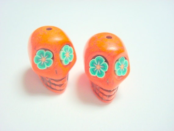 Orange Howlite Sugar Skull Beads with Green Flower Eyes
