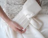 Ivory Bridal Clutch - The Christine Clutch in ivory duchess satin, wedding purse, big bow bag, bride accessory,big day, off white, low shine