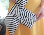 Black and White Striped Clutch - The Elle Jane Clutch