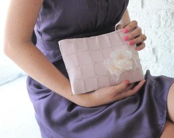 Clutch - The Lily Viola Clutch in Blush Pink satin, bride bridal beaded bag, wedding pink purse, bridesmaids clutch flower pin