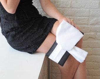 Clutch - The Christine Clutch in Tuxedo Black and White satin, bride bridal big bow bag, bridesmaids classy purse, formal evening wear