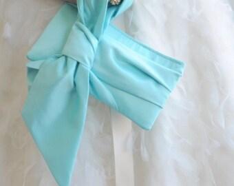 Blue Bridal Clutch - The Elle Jane Clutch in Satin, Bridal Bag, Wedding Purse, Bridesmaids Big Bow Clutch, aquamarine cockatoo Wedding