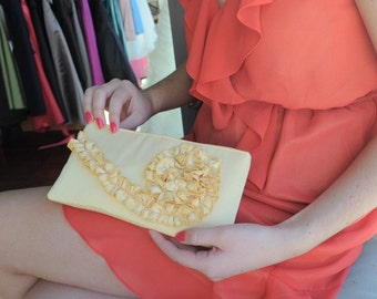 Ruffle Clutch - The Kimberly Clutch in Canary Yellow Satin, Bridal Clutch, Bridesmaids Ruffle Bag, Prom Clutch