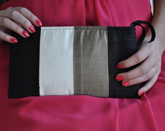 Clutch - The Amy Clutch - Black, Bronze and Ivory color blocked, evening formal wear bag, mother of bride or groom purse
