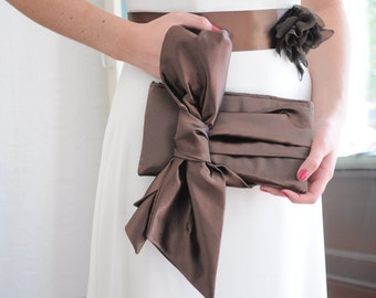 Chocolate Brown Clutch - The Elle Jane Clutch, chocolate brown satin formal wristlet, bride or bridesmaids big bow clutch purse, prom bag
