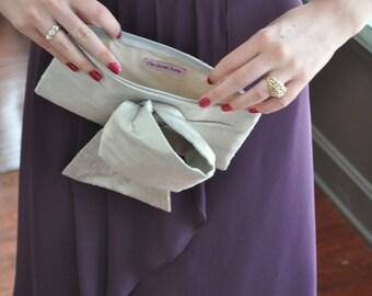 Silver Bridal Christine Clutch, dusty silver big bow bag, wedding purse, black tie gala event accessory, mother of bride groom bag