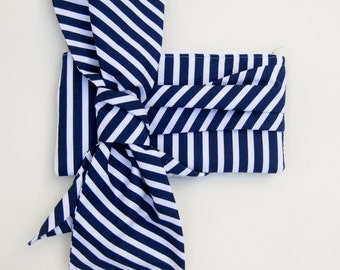 Nautical Wedding Clutch - Elle Jane Clutch in navy and white stripes, something blue bag, bridal purse, blue big bow