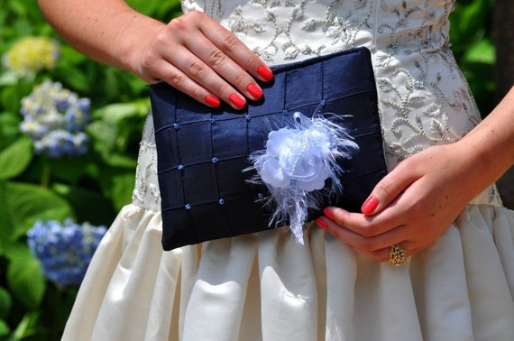 Clutch - The Lily Viola Clutch - Deep Blue, bridal bridesmaids beaded bag, wedding purse, something blue, mother of the bride groom bag