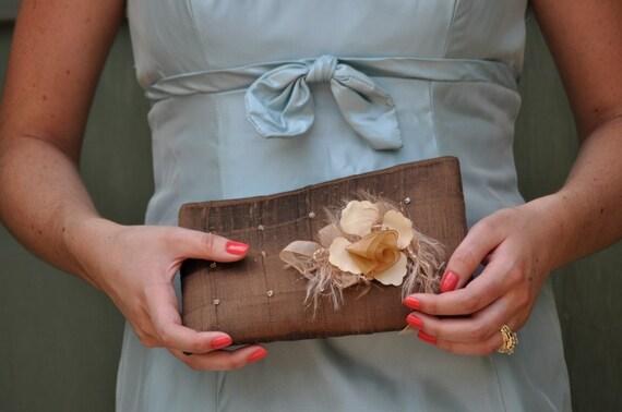 Clutch - The Lily Viola Clutch in Warm Brown silk, bride bridesmaids beaded bag, mother of bride groom flower silk purse