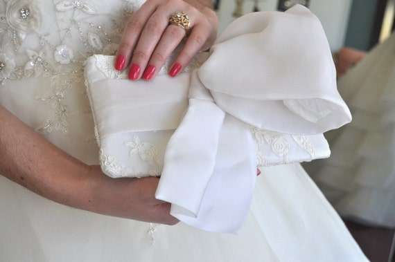 Bridal Clutch, The Christine Clutch, Ivory Alencon Lace, Wedding Purse, Lace Bag