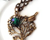 Tree Necklace, Tree with Bird Pendant Necklace