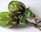 Green Earrings, Drop Earrings, Dangle Earrings
