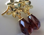 Gold  Earrings, Amethyst Earrings, Bridesmaid Jewelry