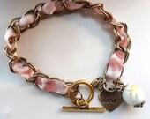 Ribbon Bracelet, Charm Bracelet, Braided Bracelet, Pink Bracelet