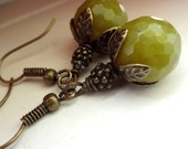 Green  Earrings, Agate Earrings