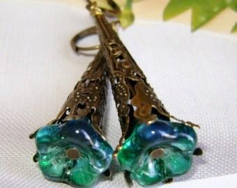 Flower  Earrings, Long Filigree Earrings