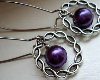 Purple Glass Pearls with Silver Ring Earrings, Purple Earrings