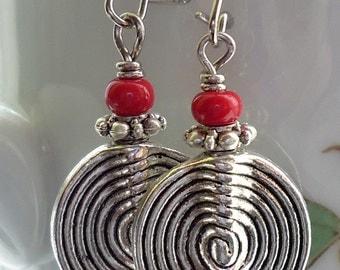 Spiral Disc Earrings Antique Silver dangle Earrings Kidney Ear Wires Disc Earrings