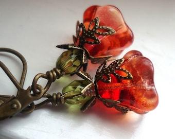 Flower Earrings, Dangle Earrings