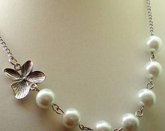 White Necklace Set, White Glass Pearl Necklace,  Orchid Flower Necklace Set, Bridesmaid Necklace
