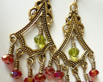 Chandelier Earrings Green Earrings, Red Earrings