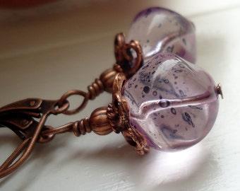 Light Purple Earrings, Antique copper Earrings Lever back er wires Purple shaded earrings dangle earrings