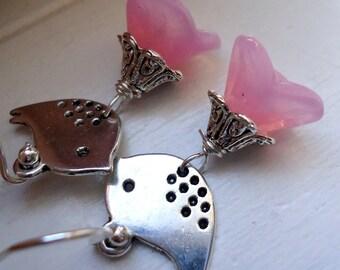 Pink Flower Earrings with Bird Bird Earrings, Flower Earrings, Pink Earrings