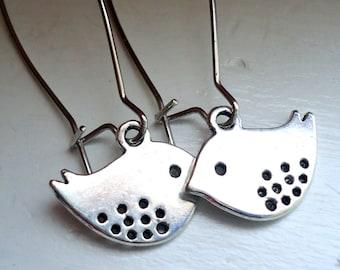 Bird Earrings Silver Bird Earrings, Dangle Earrings