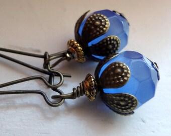 Blue Earrings, Dangle Earrings, Kidney Earrings, Blue Jewelry