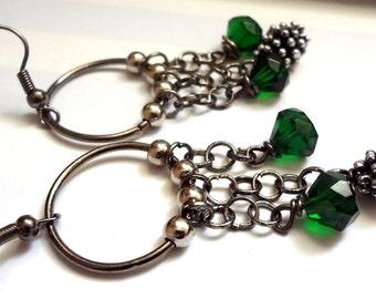 Hoop Earrings Green and Gunmetal