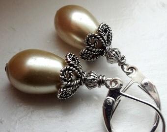 Champagne Earrings Drop Earrings, Wedding Jewelry Bridesmaid Earrings SALE