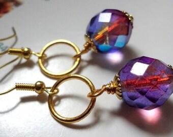 Purple Earrings,  Gold