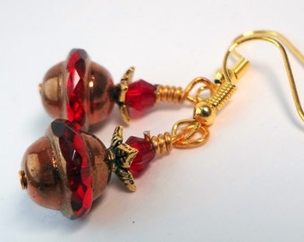 Red Earrings, Dangle Earrings, Bridesmaid Jewelry