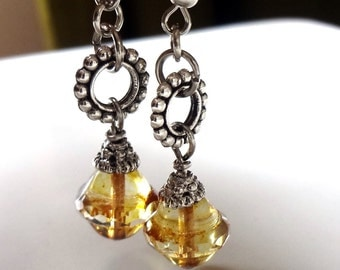 Amber Earrings, Picasso Finish ,Czech