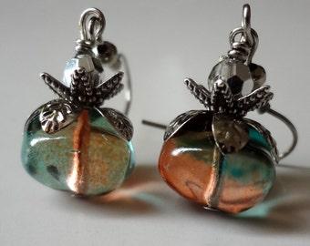 Green Orange Earrings, Shaded Earrings, Dangle Earrings , Gift SALE