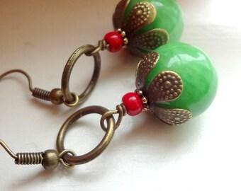 Green  Earrings Agate Earrings, Dangle Earrings Stone Earrings Green Agate earrings