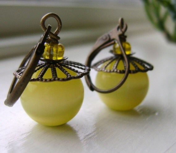 Yellow  Earrings Moonglow