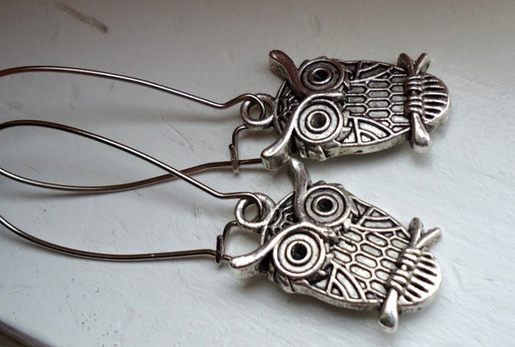 Silver Owl Earrings, Owl Earrings