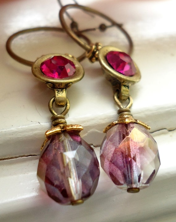 Hoop Earrings Pink and Fuschia