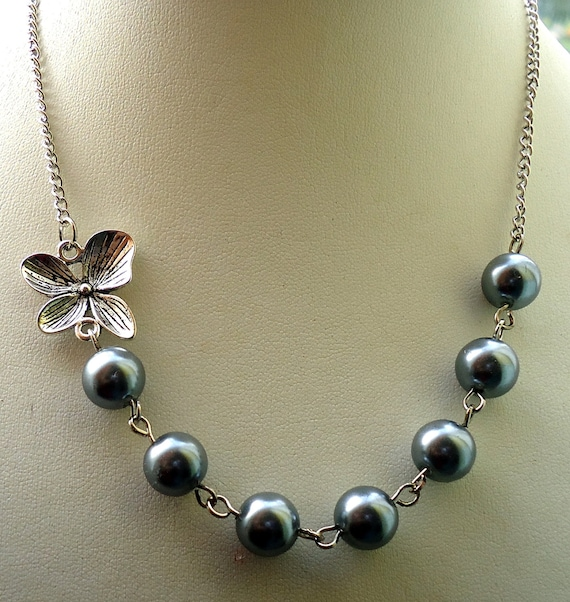 Gray Necklace Set,  Glass Pearl with Orchid Flower Necklace Set