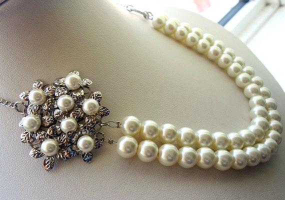 Ivory Necklace Set , Glass Pearl , Pearl Jewelry, Double Strand Necklace, Wedding Jewelry