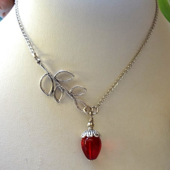 Red Necklace, Silver Branch necklace, Red Necklace Set