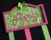 Personalized Hair Bow Holder Plaque with your Name or Monogram and your choice of colors and design