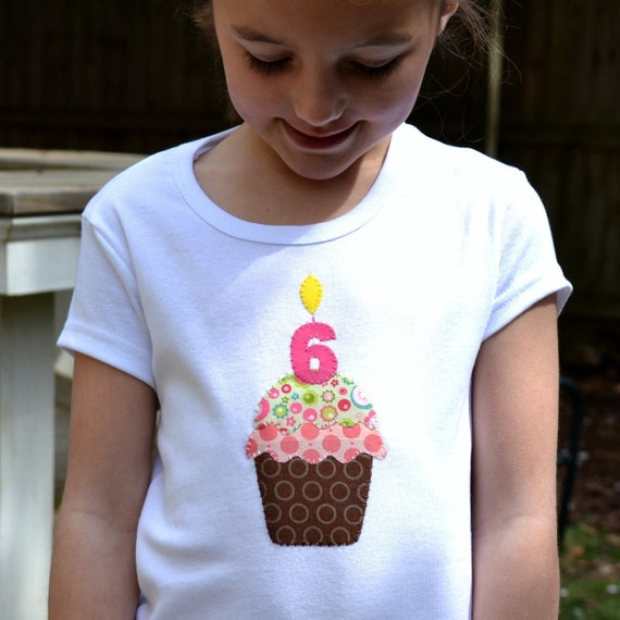 Birthday Girl Chocolate Cupcake Tee with Number Candle, Toddler and Kids T-shirt